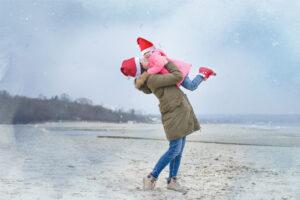 Zabezpieczony: Mama z córcią zimowa sesja plenerowa Gdańsk